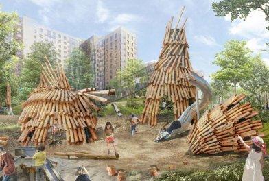 В ЖК «Алхимово» построят игровое пространство с шалашами, качелями и скалодромом
